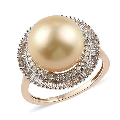 ROYAL BALI COLLECTION Yellow South Sea Pearl Halo Ring for Womens in 9ct Yellow Gold Anniversary/Wedding/Proposal Gemstone Jewellery Size P with White Diamond June Birthstone, TCW 10.43ct