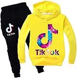 ASKSA Tik Tok - Conjunto de sudadera con capucha y chándal para niña y chico amarillo 9-10 Años