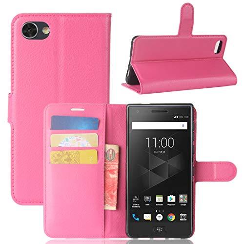 A+Xu Jie Funda de piel con tapa horizontal para BlackBerry Motion Litchi, con tarjetero, tarjetero y cartera, color magenta