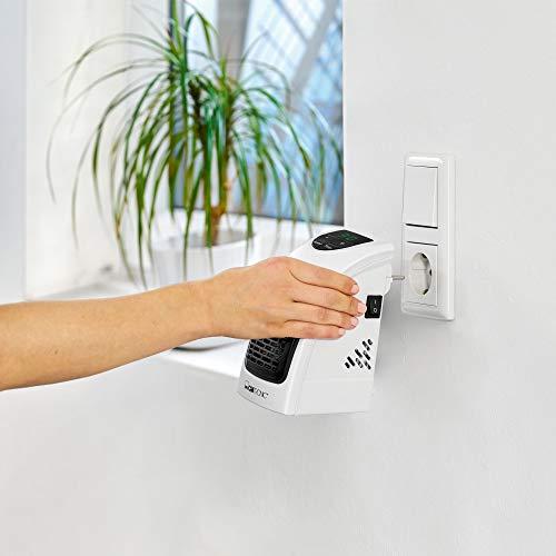 Clatronic HL 3738 3738-Calefactor portátil con Enchufe y 2 Niveles de Ventilador, Elemento Calefactor PTC, Pantalla LED y luz de Control, Temporizador de 12 Horas, Color Blanco