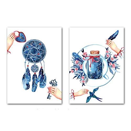 JHCT Impresiones de la Lona Cuadros Decorativos Acuarela Atrapasueños Carteles Pluma Paisaje Lienzo Pintura Sala de Estar Dormitorio Decoración-40X60Cmx2 Piezas sin Marco