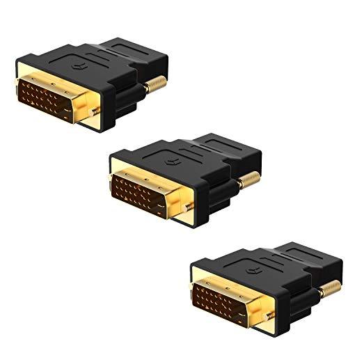 Movilideas 3 Unidades Adaptador DVI a HDMI, 1080P, Clavija HDTV Convertidor, Negro
