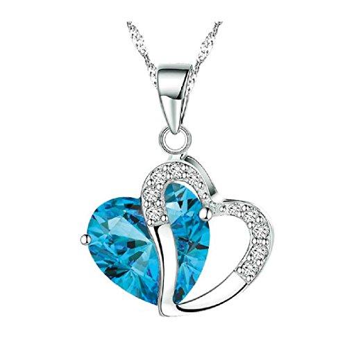 Collar con Colgante de corazón en Piedras de Cristal, Plata de Color (Incluyendo la Caja de Boolavard® TM