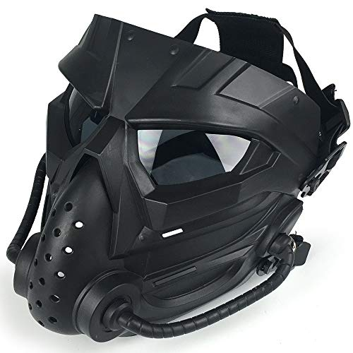 Airsoft Mask Full Face Tactical Mask, PC Lens Eye Protection Impact Resistant, for BB Gun CS Paintball Cosplay Halloween Movie Scary Masks Masquerade, Adjustable Strap Impact Resistant for Game Mask