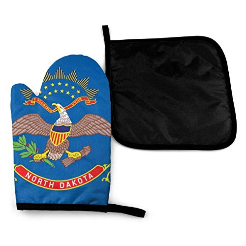 Bandera del estado de Dakota del Norte Guantes para horno microondas y porta ollas Juego de cubiertas Aislamiento térmico Manta Alfombrilla Manoplas Guantes Hornear Pizza Barbacoa BBQ