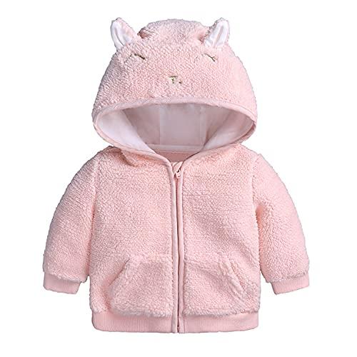 Verve Jelly Sombrero de orejas de lana para bebés, niños y niñas, con capucha, cremallera, chaqueta, abrigos, abrigos, prendas de vestir, abrigo, otoño, invierno, ropa, rosa, 3-6 meses
