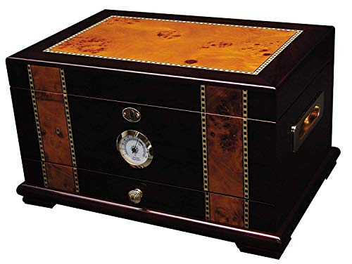 Solana Desktop Cigar Humidor, Rosewood With Maple-Burled Wood Inlay, Spanish Cedar Tray, Holds 75-100 Cigars, by Quality Importers