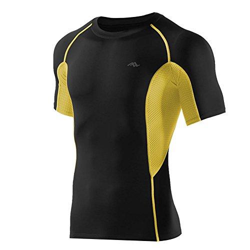 PASSWIN Cool Dry Hombre Deportes compresión Camisas Manga Corta