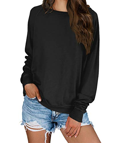 KIRUNDO 2019 Women's Solid Sporty Sweatshirt Crew Neck Long Sleeves Pullover Ribbed Cuffs Hems Sweaters Outwear (Medium, Black)