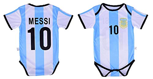 Athletics Rhinox Leo Messi #10 Argentina Soccer Jersey Baby Infant & Toddler Onesie Romper Premium Quality (6-12, Home)