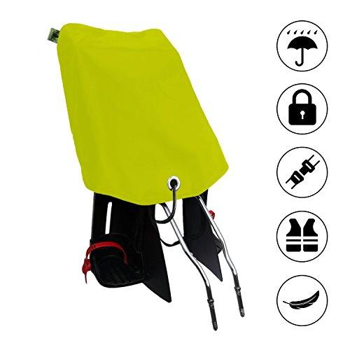 MadeForRain Preiswerter Basis-Regenbezug mit Diebstahlschutz für Fahrradkindersitze - CityFrog Basic AntiTheft - Neongelb