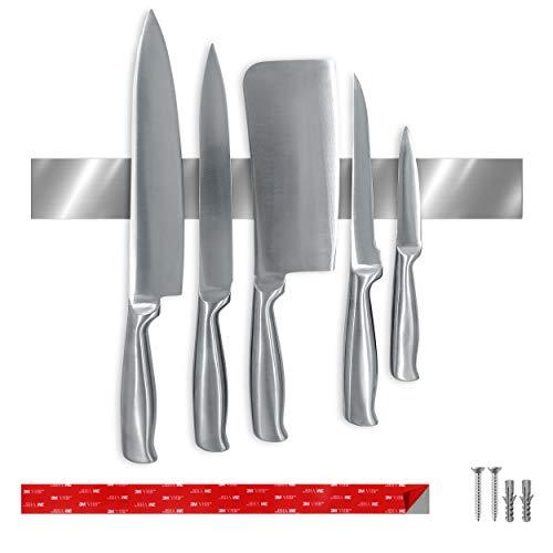Barre à couteaux autocollante originale pour mur | Barre magnétique de 40 cm avec ruban adhésif 3M VHB | Porte-couteaux magnétique en acier inoxydable sans perçage | Aimant extra puissant | Rail magnétique pour cuisine, bureau et atelier