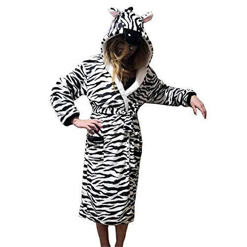 PANGZAI Unisex Tier Pyjama Robe Schlaf niedlichen Pyjama Einhorn Robe Bademantel Winter Home Service Damen Roben, Zebra, M