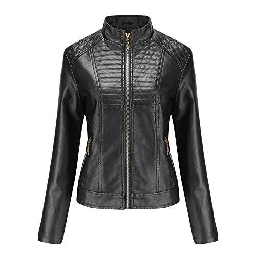 Zengbang Stehkragenjacke Damen PU Lederjacke Slim Fit Metallreißverschluss Lässiger Biker Mantel