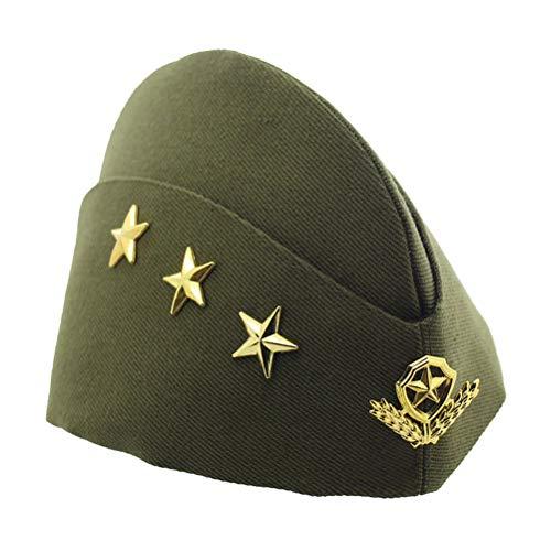 BESTOYARD Schiffchen Hut Militärshut Flugbegleiterin Mütze mit Sterne Ähre Cosplay Kostüm (Grün)