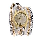 joyMerit Reloj de Pulsera de Tejido de Abrigo de Pulsera de Cuarzo Analógico Multicapas de Estilo Vintage para Mujer - Blanco