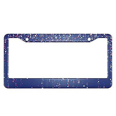 Swono American Independence Day License Plate Frame Festoons of Red Blue White Stars License Plate Cover Aluminum Metal License Plate Holder Frame for Women Men Auto Decoration for US Car/Truck