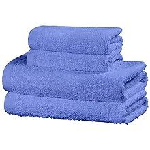 Viste tu hogar Juego de 4 Toallas Hechas 100% de Algodón, Incluye 2 Toallas de Baño y 2 de Manos, Suaves y Absorbentes, Ideales para Uso Diario y Decoración, en Color Azul Claro