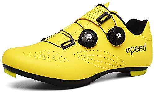 [NOXNEX] サイクルシューズ 通気性 MTBシューズ 自転車 SPD/SPD-SL両対応 カジュアル ロード シュ−ズ バイク 靴 快速靴紐 ベルクロ 滑りにく サイクリングシューズ メンズ用& レディーズ 用 初心者 (イエロー-20,25.0cm