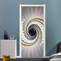ZWYCEX ドアステッカー 階段ビル壁画PVCの自己接着防水ドアステッカーのベッドルーム3Dインテリアリボルビング写真の壁紙、3D抽象ゴールデン (Dimensions : 77cm x 200cm)