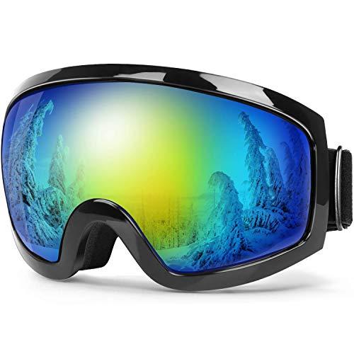 Bfull Skibrille Für Damen und Herren Kids Brillenträger Skibrille 100% OTG UV400 Anti-Fog UV-Schutz Skibrillen Snowboard Skibrille Schutz Ski Goggles (Gray-revo golden Lens VLT 9%)