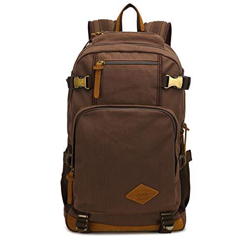 RCTO New fashion Luxury brand men's vintage canvas brown backpack school bag travel large capacity laptop backpacks best coffee 301547