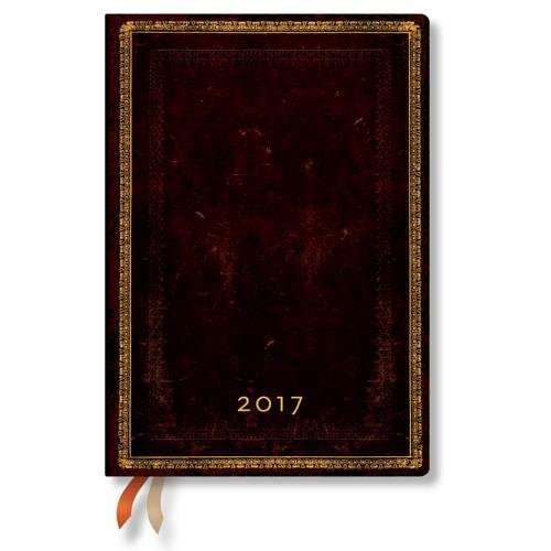 Paperblanks schwarzes Marokkoleder - Kalender 2017 Midi Tagesüberblick deutschsprachige Ausgabe