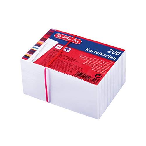 Herlitz 50019397 Karteikarte A8, weiß, 170g/M2, 200 Stück Eingeschweißt
