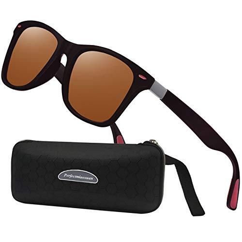 Perfectmiaoxuan Gafas de sol polarizadas hombre mujer retro gafas de sol masculino deportes al aire libre golf ciclismo pesca senderismo gafas de sol, marrón,