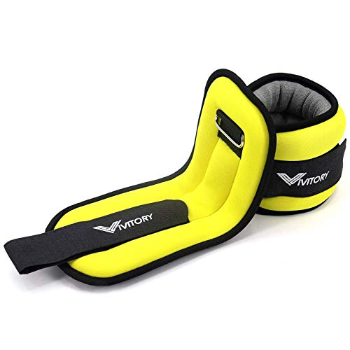 Vivitory Ankle Weights for Women and Kids - Strength Training Wrist/Leg/Arm Weight Set with Adjustable Strap for Dancing, Jogging, Gymnastics,Fitness, Workout (1 lb Each (2 lbs Pair) - Yellow)