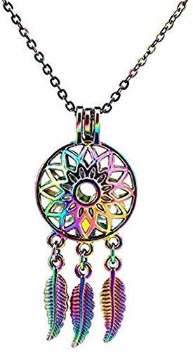 Mxdztu Co.,ltd Necklace Colors Rainbow Flower Dream Catcher Leaves Beads Leaf Cage Pendant Essential Oil Diffuser Locket Necklace