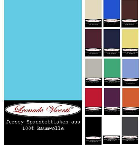 Leonado Vicenti - Premium Spannbettlaken 100% Baumwolle Jersey Spannbettuch Einzelbett Doppelbett Boxspringbett Wasserbett geeignet, Farbe:Petrol, Größe:200 x 220 cm + 40cm Steg