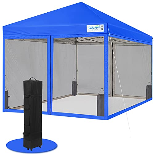Quictent 10x10 Pop up Canopy Tent with Netting Screened Screen House Room Tent Mesh Screen Walls Waterproof, Roller Bag & 4 Sand Bags Included (Royal Blue)