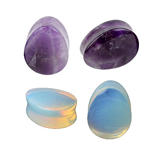 00 gauge amethyst plugs - 1