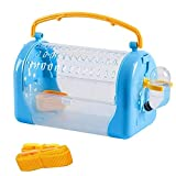 Portable Pet Carrier Box Plastic Breathable Transparent Hamster Carrier Comfortable Handle for Carrying Blue