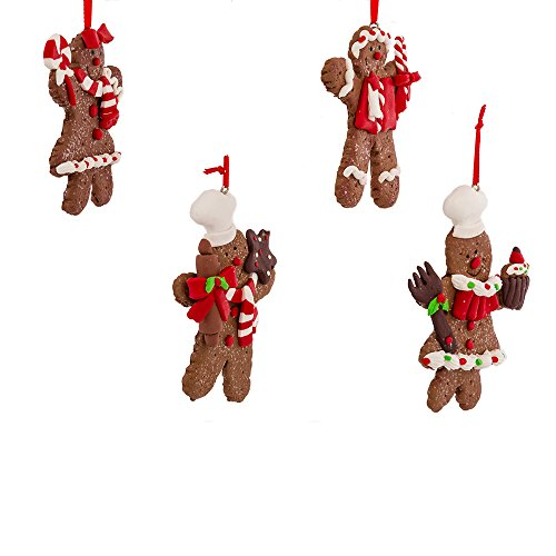 Kurt Adler 4-Inch Claydough Gingerbread Ornament, Set of 4