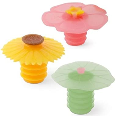 Charles Viancin Wine Bottle Stopper - Lily Pad, Sunflower & Hibiscus