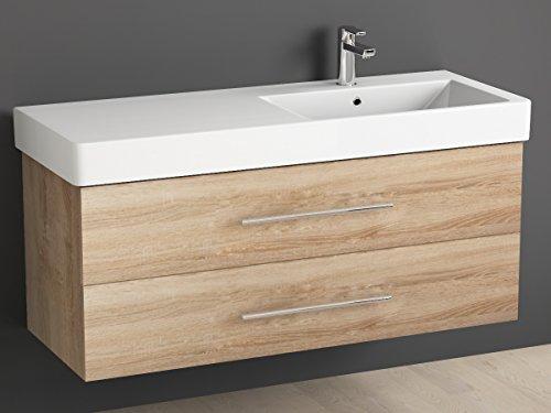 Aqua Bagno Badmöbel 120 cm inkl. Keramik Waschtisch Waschplatz rechts / Badezimmer Möbel inkl. Waschbecken Unterschrank Sonomo Eiche