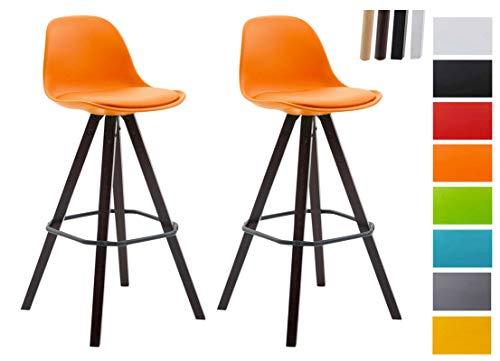 CLP 2er Set Barhocker Franklin Mit Kunststoffschale Und Kunstlederbezug I Barstuhl Mit Eckigem Holzgestell Und Fußstütze Orange, Cappuccino (Eiche)