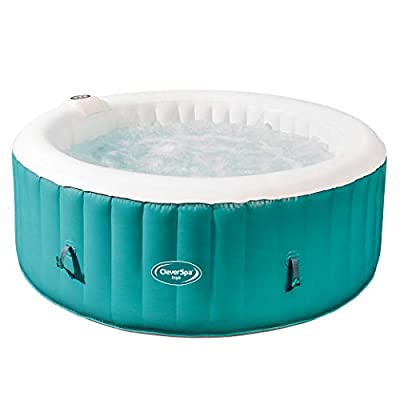 CleverSpa 7959 Inyo 4 Person Year Round Portable Outdoor Inflatable Round Hot Tub with 110 Air Jets, Built in Water Heater, and Cover, Teal
