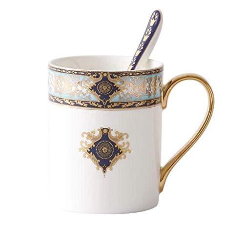 L-WSWS La Taza de café, Chapado en Oro del Ramillete Milán Taza Europea China de Hueso, cerámica Creativa Taza de café con la Cuchara, oficinas de Cristal de Agua, Bohemia Azul - Taza Enviar Cubierta