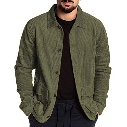 Plot Herren Cord Jacken Einfarbig Casual Übergangsjacke Langarm Revers Jacke Freizeit Vintage Outwear Coat