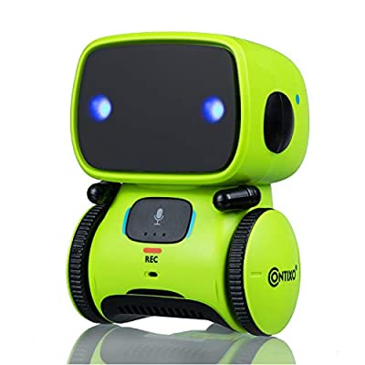 Contixo R1 Learning Educational Kids Robot Toy Talking Speech Recognition Recording and Voice Controlled Interactive Touch Sensor Smart Robotics with Singing, Dancing, Gift for Kids Age 3+ (Lime)
