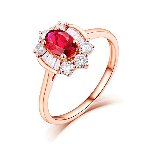 Daesar Anillo de Boda Oro Rosa 18 Kilates Mujer,Flor Oval Rubí Rojo 0.6ct Diamante 0.44ct,Oro Rosa y Rojo Talla 25