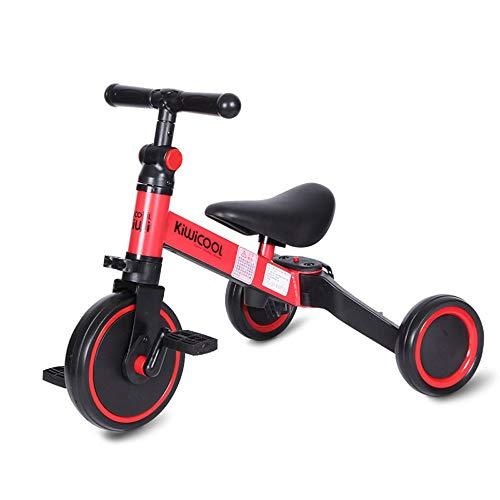 MZZG 3 en 1 Niños Triciclo para niños de 1-3 años en adelante para niños Triciclo Niños Niñas bebé Bicicleta de Equilibrio 2 Ruedas para niños pequeños Triciclo con Pedales extraíble,Rojo