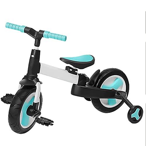 GUORZOM Triciclo Bambini 4 in 1, Pieghevole Balance Bike Insieme a Regolabile Posto a Sedere, Bambino Che Fa i Primi Passi Tricicli Figli Camminatore, per 1-6 Anni Ragazzi Ragazze,Blu