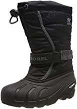 Sorel Youth Flurry Boot for Rain and Snow - Waterproof - Black, City Grey - Size 4