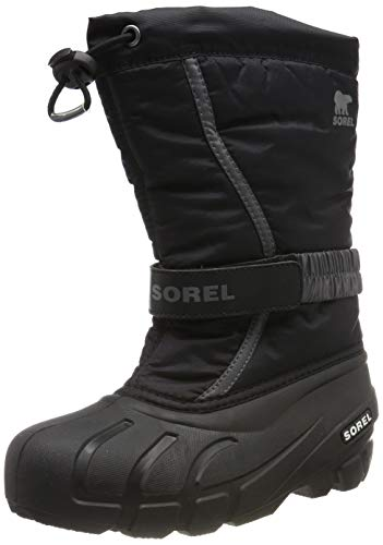 Sorel Youth Flurry Boot for Rain and Snow - Waterproof - Black, City Grey - Size 6