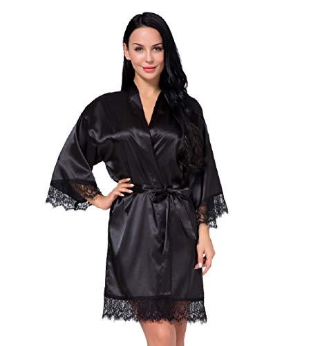 Nachtwäsche Damen Morgenmantel Kimono Robe Satin Kurze Bademantel Mit Spitze Für Frauen Schwarz 2XL