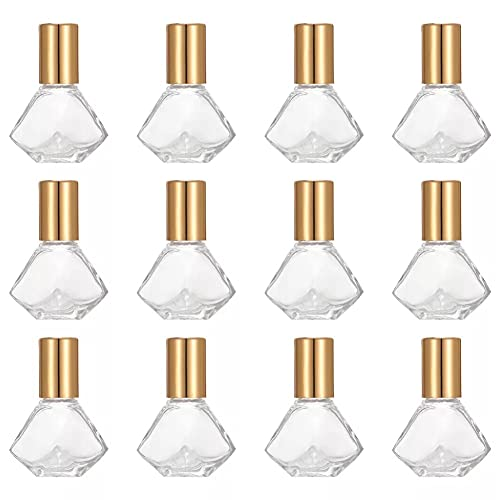 Llevar 12 Unidades 8 ML Roll on Botellas de Vidrio Botellas Vacías con Bola de Rodillo,Frascos de Vidrio Bola de Acero Inoxidable,para Aceites Esenciales,Aromaterapia,Frasco Perfume Recargable Regalo